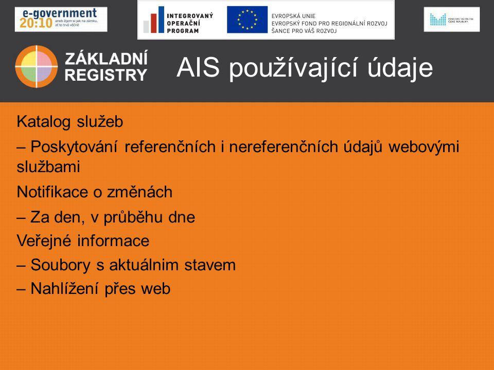 AIS používající údaje Katalog služeb
