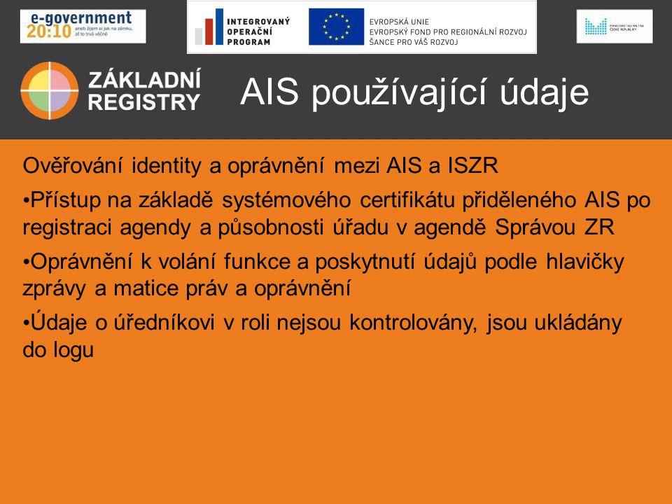 AIS používající údaje Ověřování identity a oprávnění mezi AIS a ISZR