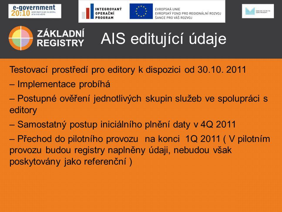 AIS editující údaje Testovací prostředí pro editory k dispozici od 30.10. 2011. Implementace probíhá.