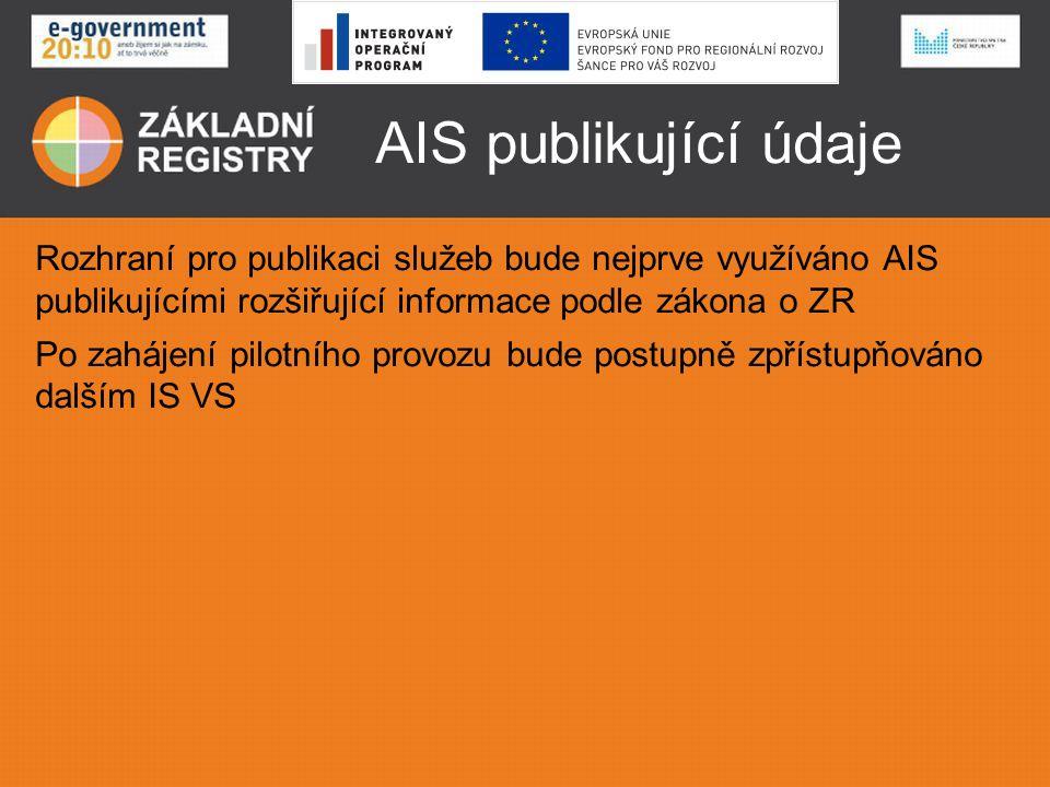 AIS publikující údaje Rozhraní pro publikaci služeb bude nejprve využíváno AIS publikujícími rozšiřující informace podle zákona o ZR.