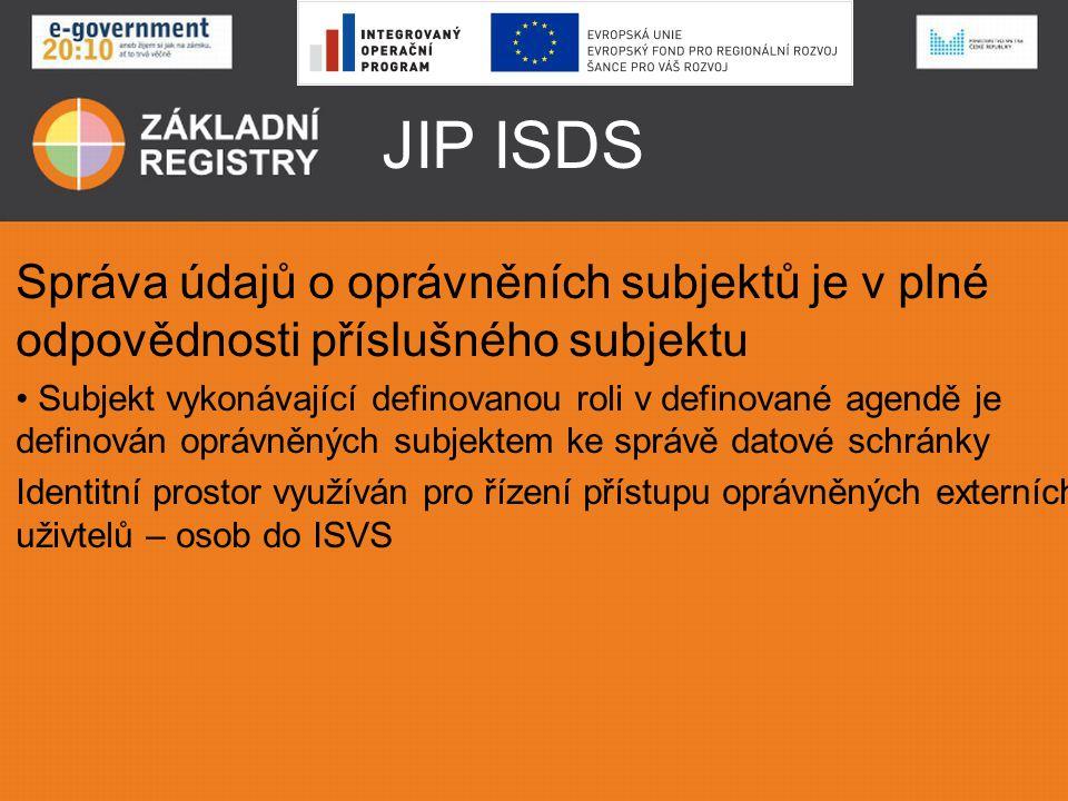JIP ISDS Správa údajů o oprávněních subjektů je v plné odpovědnosti příslušného subjektu.
