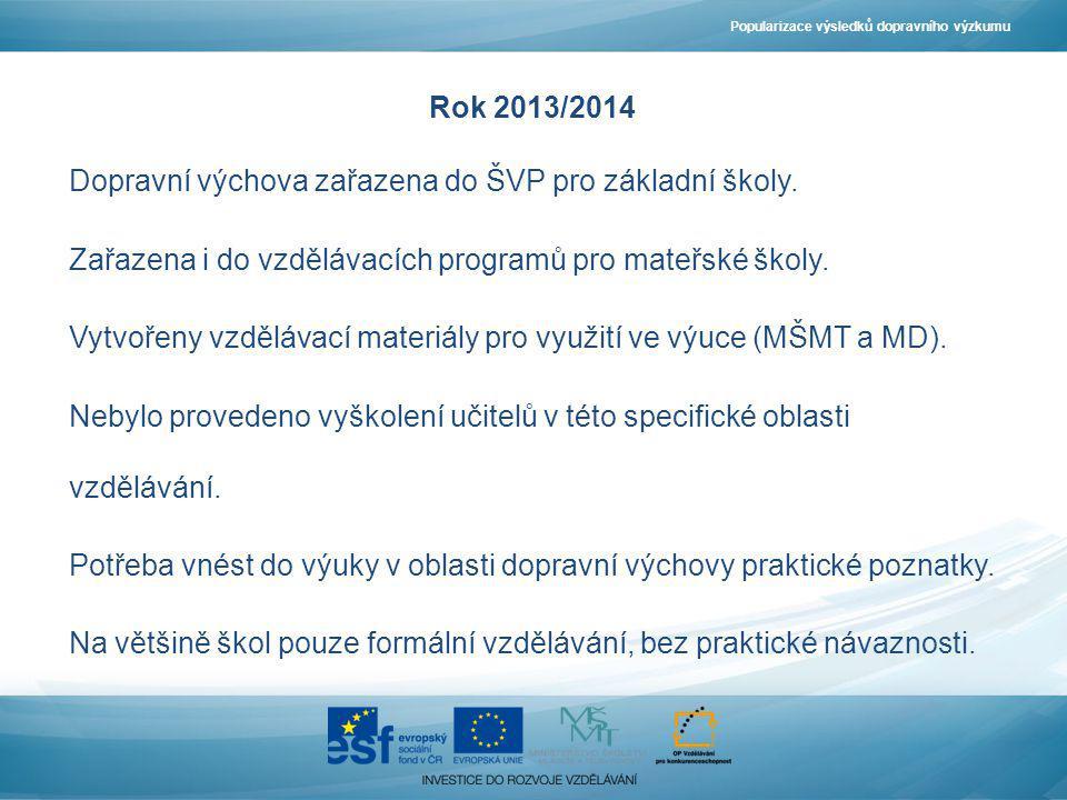 Dopravní výchova zařazena do ŠVP pro základní školy.
