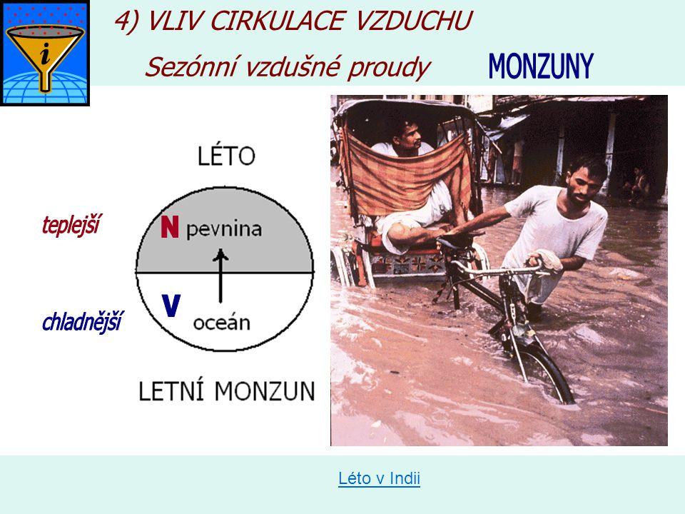 N V N V 4) VLIV CIRKULACE VZDUCHU Sezónní vzdušné proudy MONZUNY