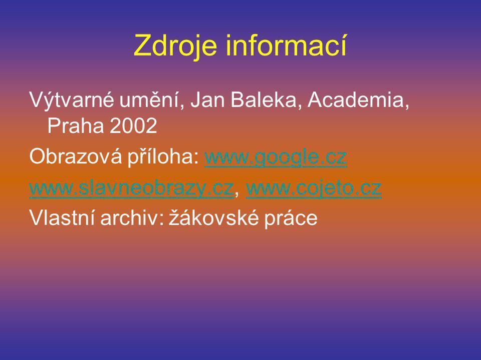 Zdroje informací Výtvarné umění, Jan Baleka, Academia, Praha 2002