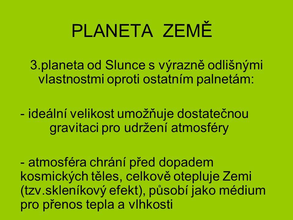 PLANETA ZEMĚ 3.planeta od Slunce s výrazně odlišnými vlastnostmi oproti ostatním palnetám: