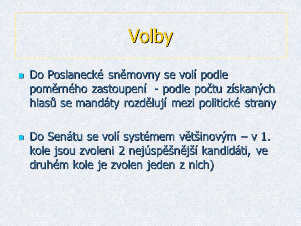 Volby Do Poslanecké sněmovny se volí podle poměrného zastoupení - podle počtu získaných hlasů se mandáty rozdělují mezi politické strany.