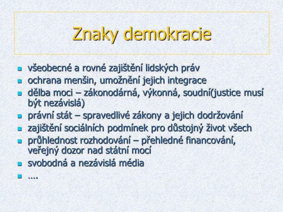 Znaky demokracie všeobecné a rovné zajištění lidských práv