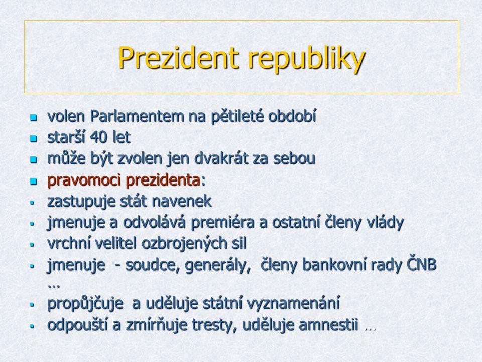 Prezident republiky volen Parlamentem na pětileté období starší 40 let