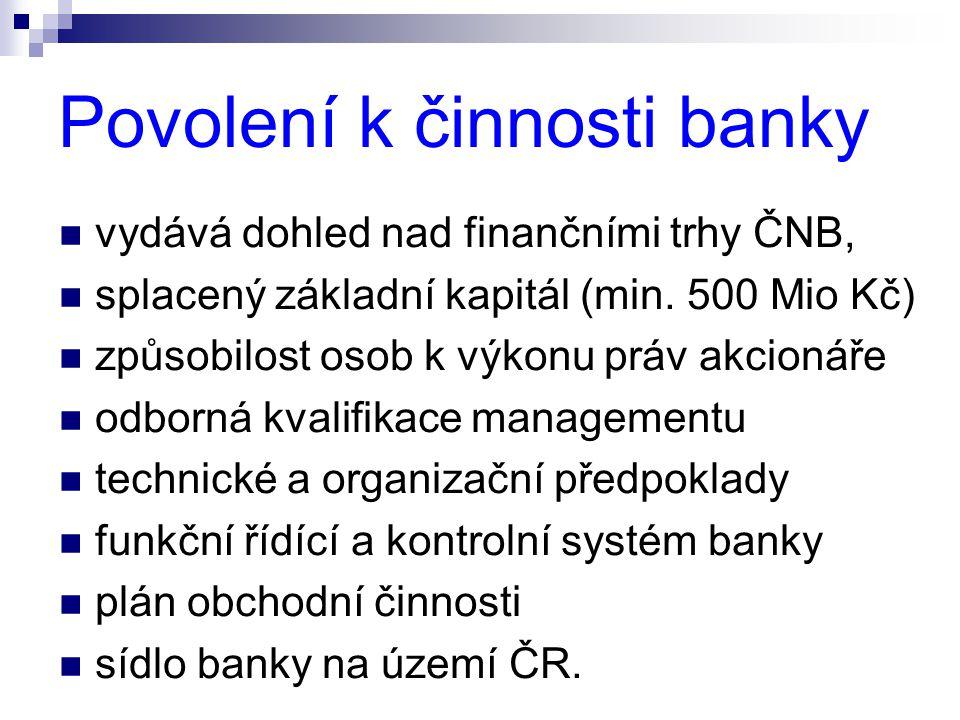 Povolení k činnosti banky