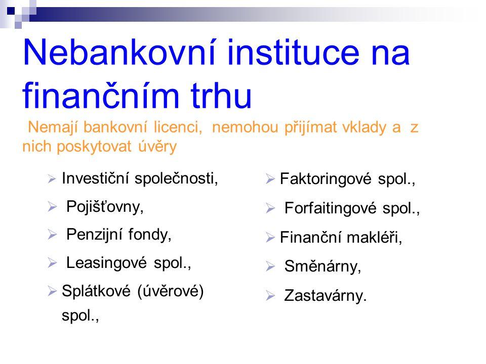 Nebankovní instituce na finančním trhu (Nemají bankovní licenci, nemohou přijímat vklady a z nich poskytovat úvěry