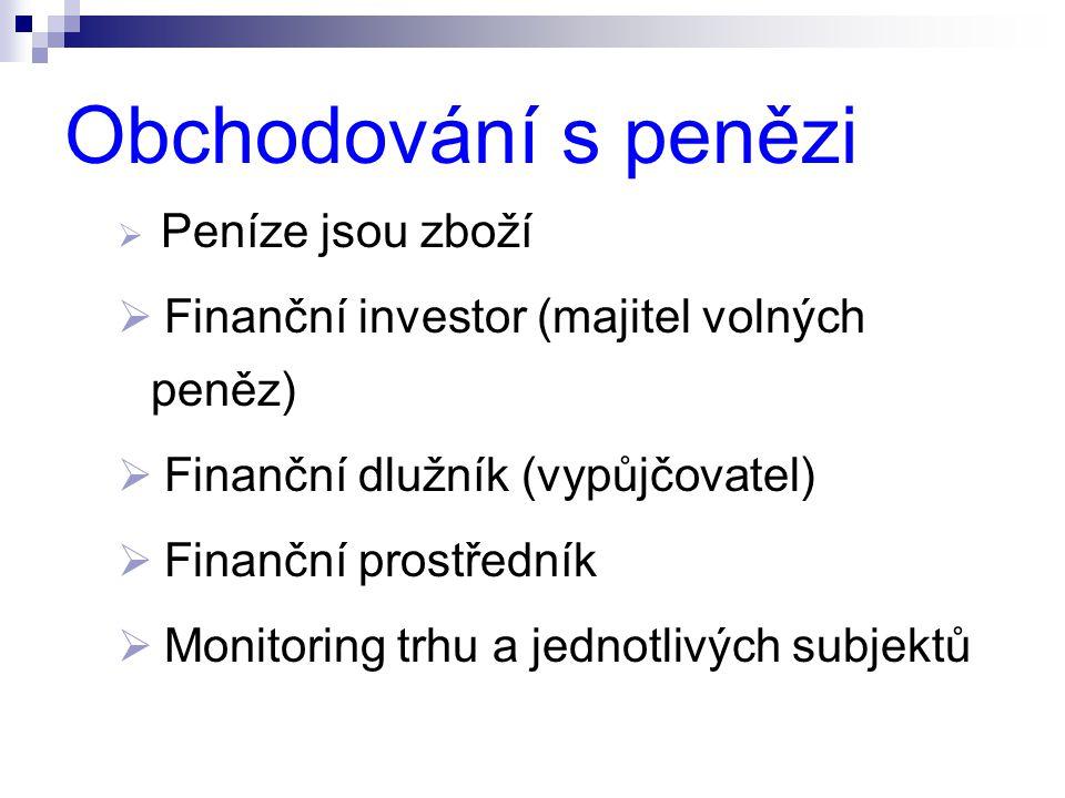 Obchodování s penězi Finanční investor (majitel volných peněz)