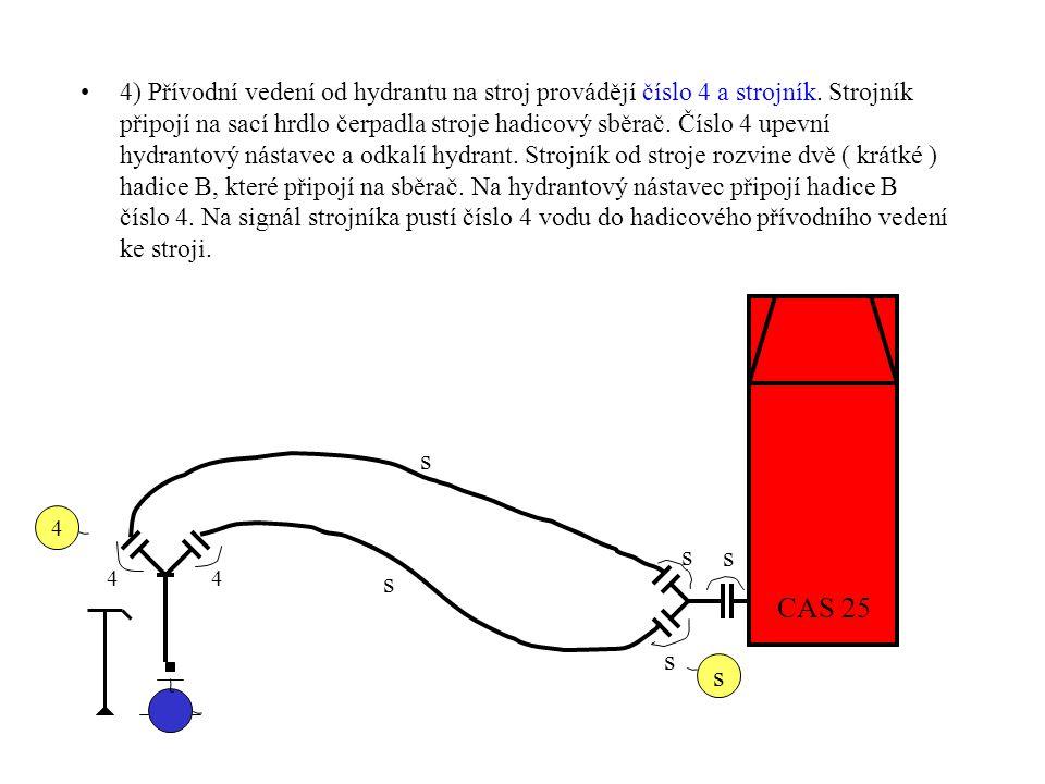 4) Přívodní vedení od hydrantu na stroj provádějí číslo 4 a strojník