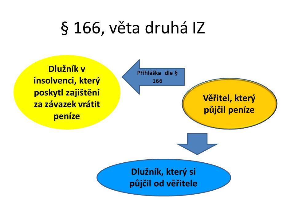 § 166, věta druhá IZ Dlužník v insolvenci, který poskytl zajištění