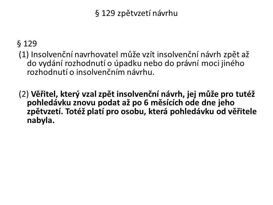 § 129 zpětvzetí návrhu