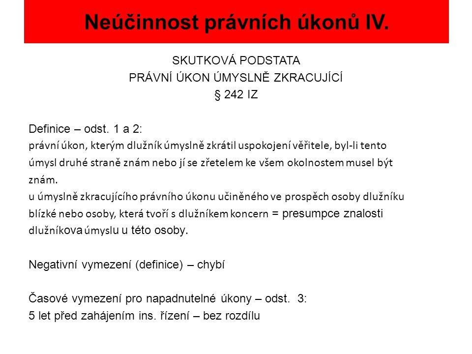 Neúčinnost právních úkonů IV.