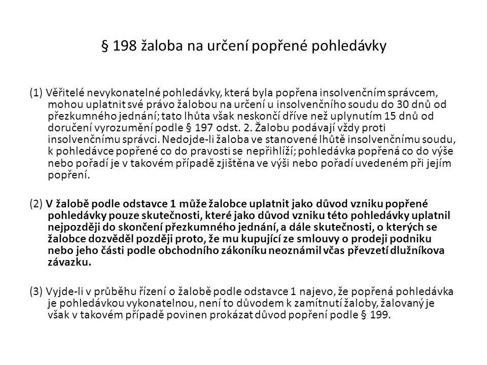 § 198 žaloba na určení popřené pohledávky