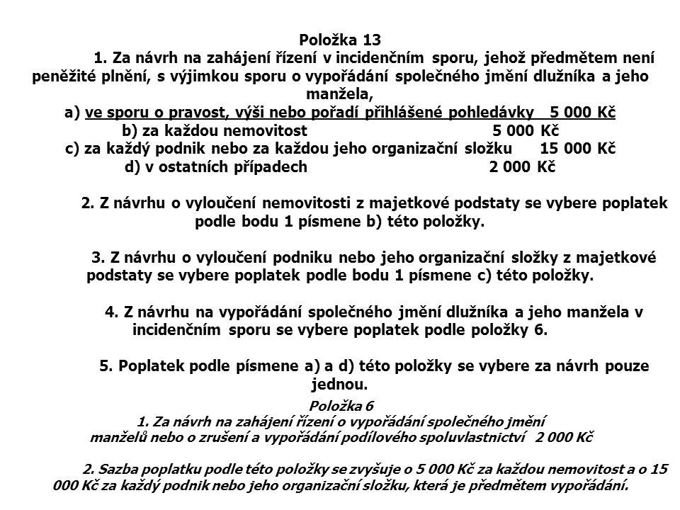 a) ve sporu o pravost, výši nebo pořadí přihlášené pohledávky 5 000 Kč