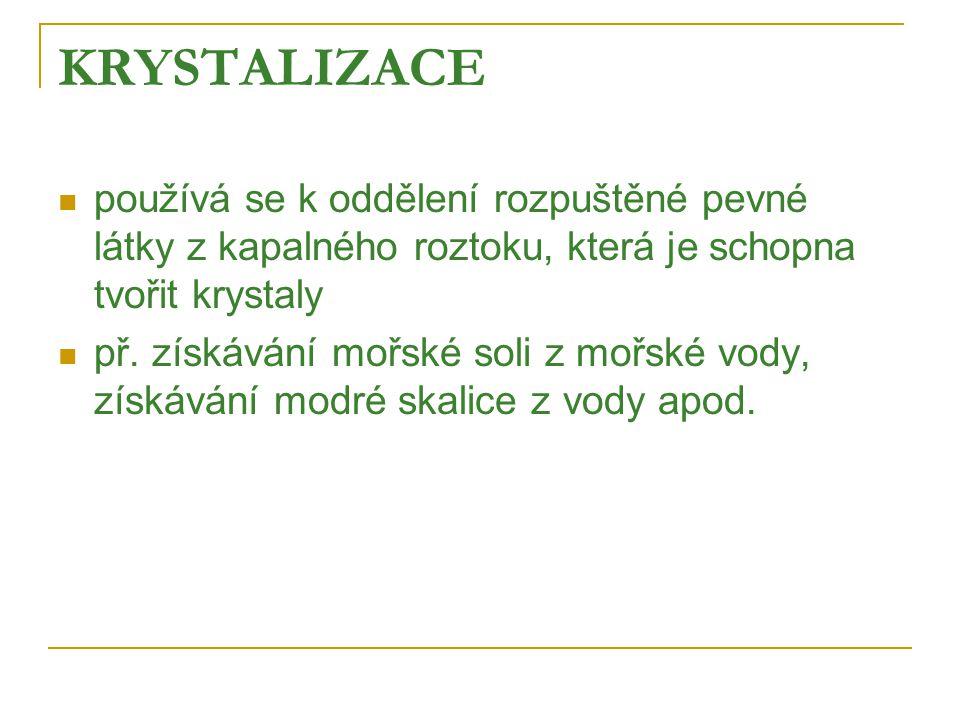 KRYSTALIZACE používá se k oddělení rozpuštěné pevné látky z kapalného roztoku, která je schopna tvořit krystaly.