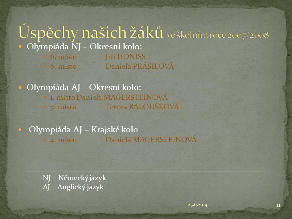 Úspěchy našich žáků ve školním roce 2007/2008