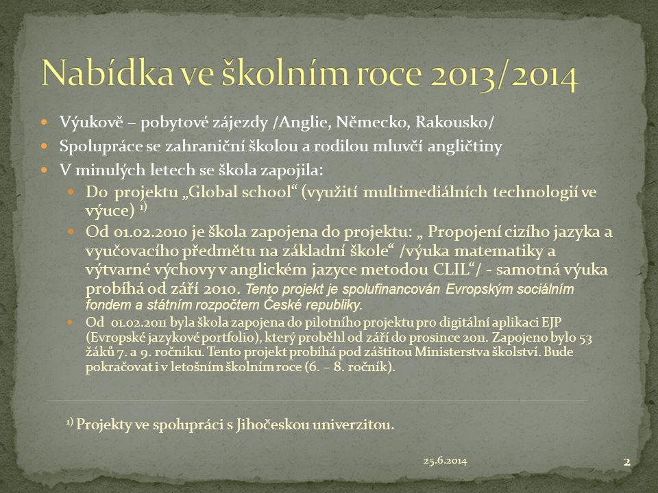 Nabídka ve školním roce 2013/2014