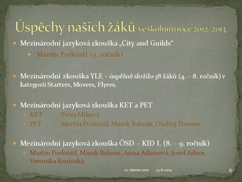 Úspěchy našich žáků ve školním roce 2012/2013