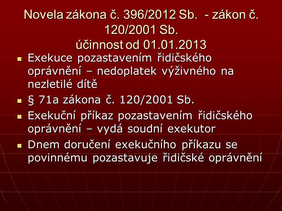 Novela zákona č. 396/2012 Sb. - zákon č. 120/2001 Sb. účinnost od 01