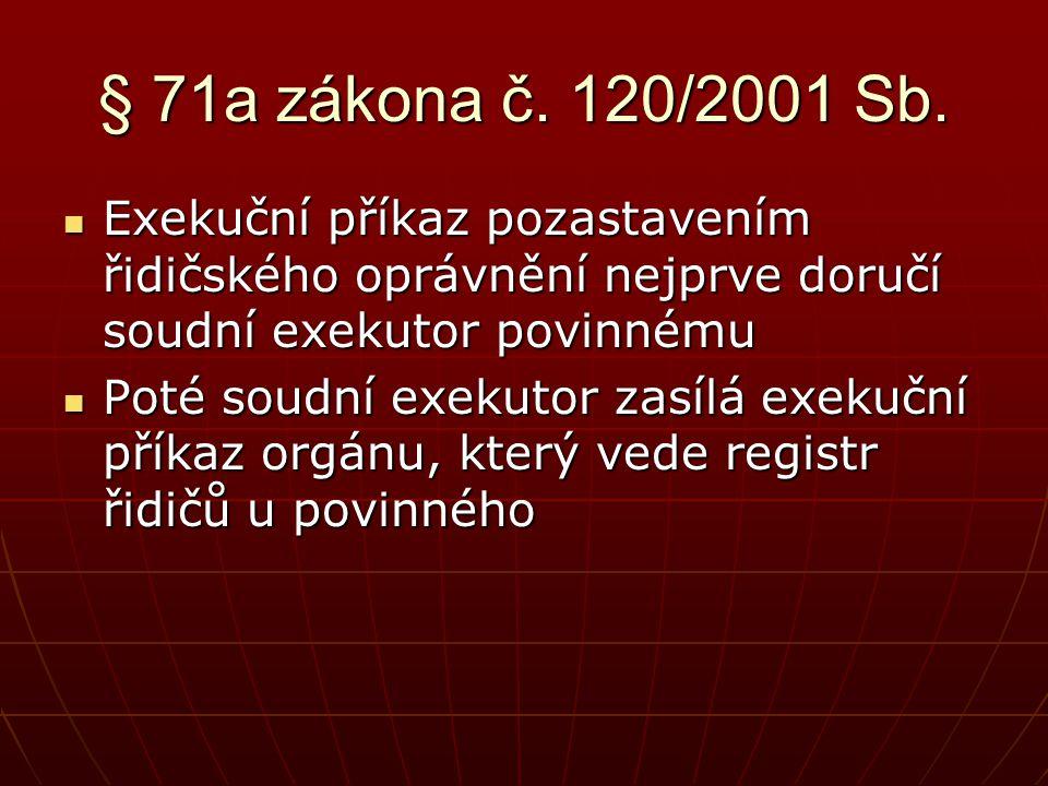 § 71a zákona č. 120/2001 Sb. Exekuční příkaz pozastavením řidičského oprávnění nejprve doručí soudní exekutor povinnému.