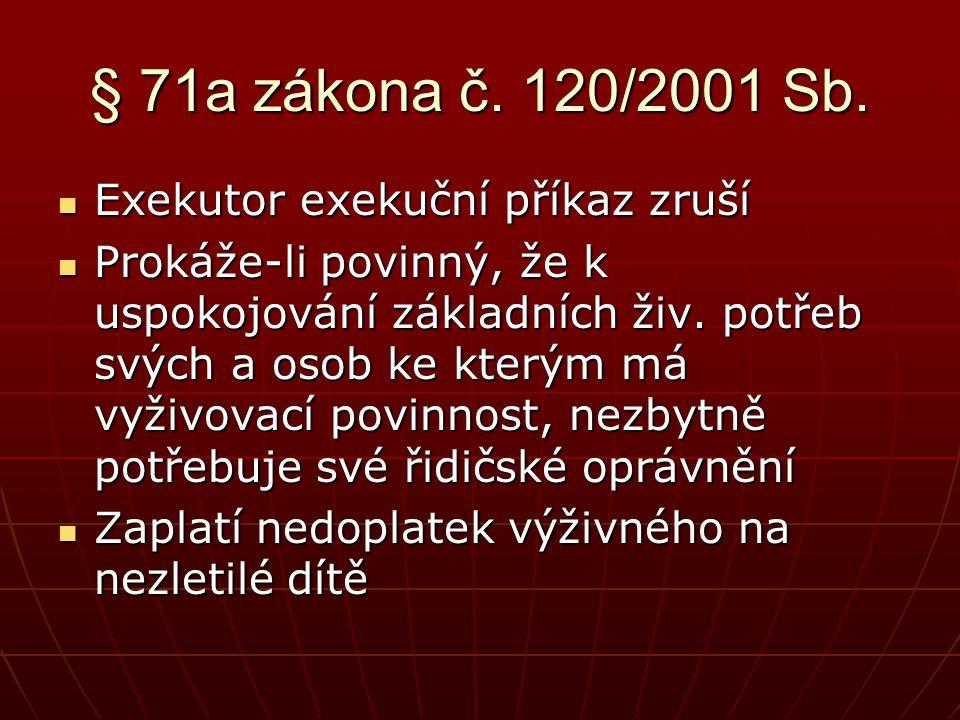 § 71a zákona č. 120/2001 Sb. Exekutor exekuční příkaz zruší