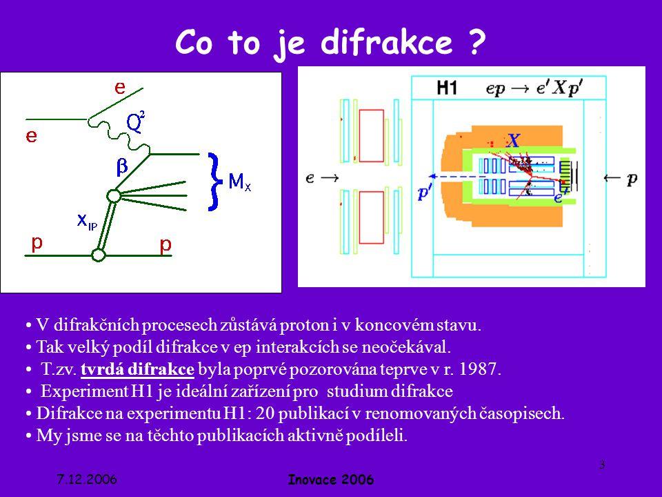 Co to je difrakce V difrakčních procesech zůstává proton i v koncovém stavu. Tak velký podíl difrakce v ep interakcích se neočekával.