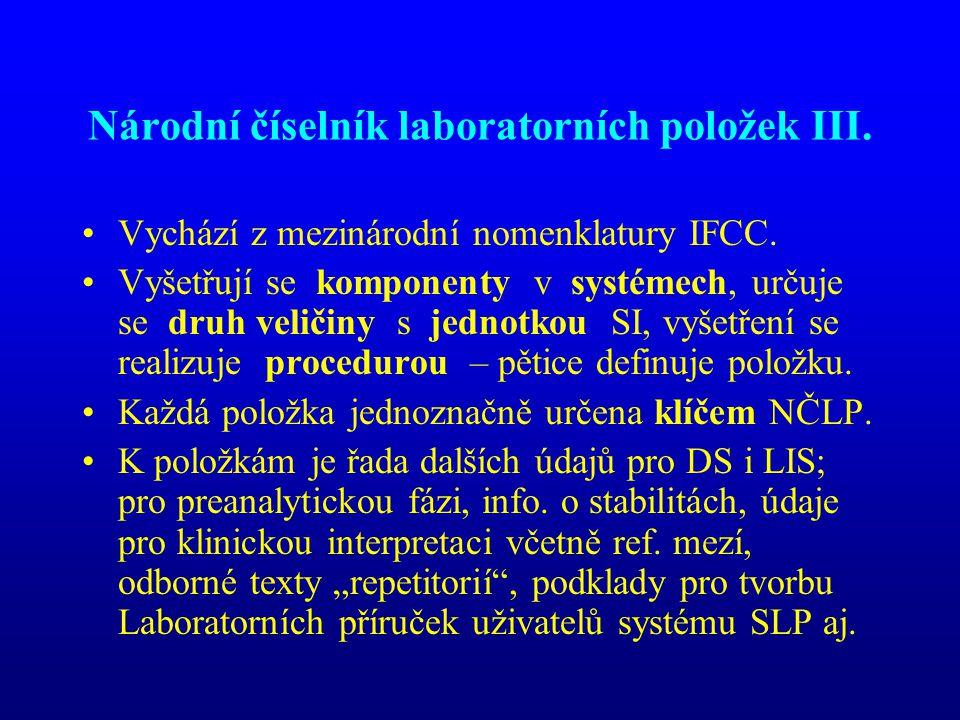 Národní číselník laboratorních položek III.
