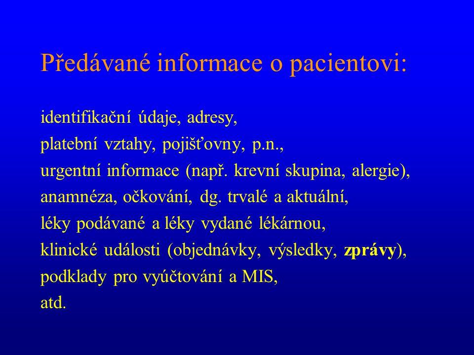 Předávané informace o pacientovi: