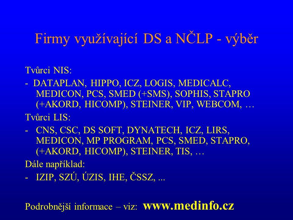 Firmy využívající DS a NČLP - výběr