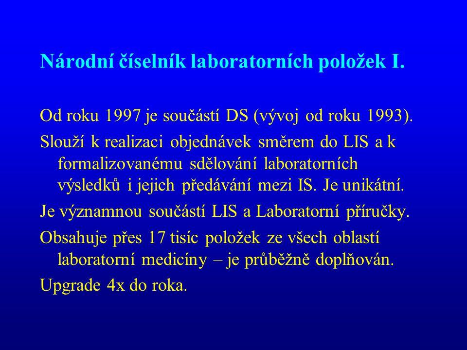 Národní číselník laboratorních položek I.