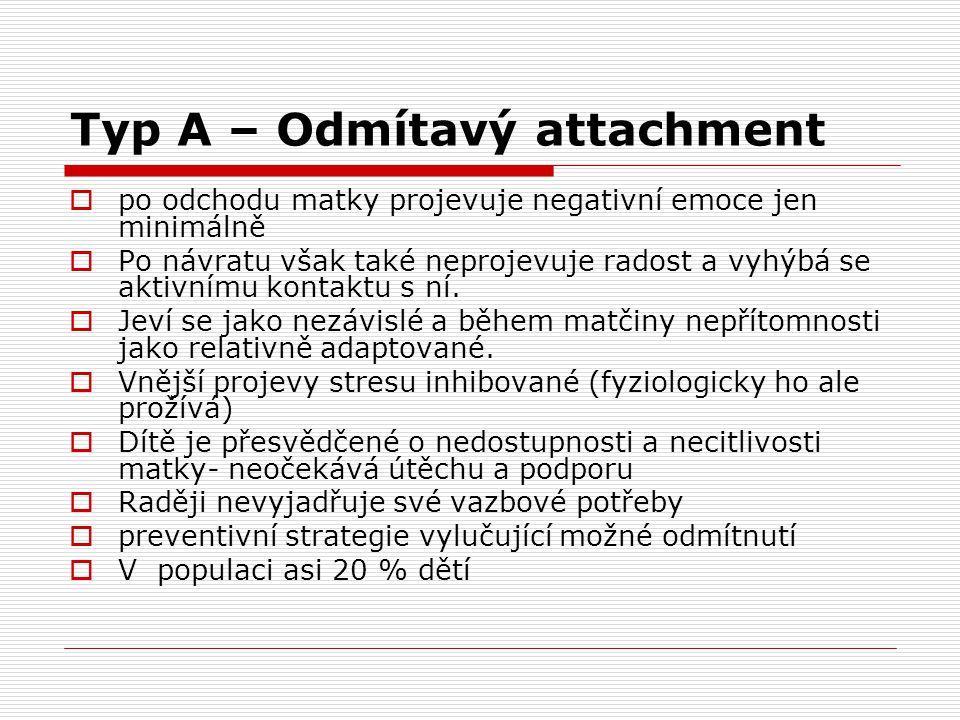 Typ A – Odmítavý attachment