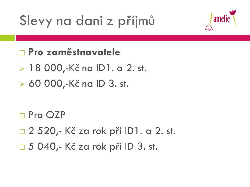 Slevy na dani z příjmů Pro zaměstnavatele 18 000,-Kč na ID1. a 2. st.