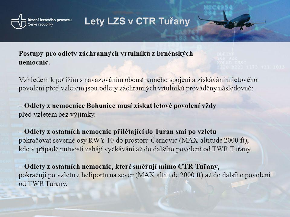 Lety LZS v CTR Tuřany Postupy pro odlety záchranných vrtulníků z brněnských. nemocnic.