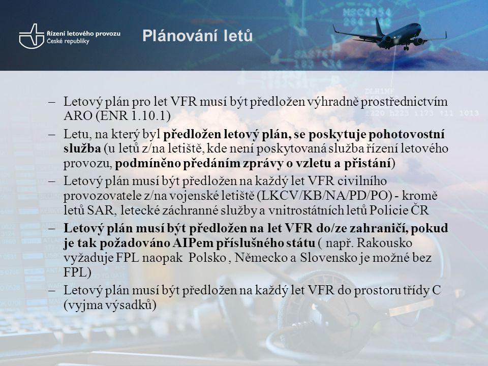 Plánování letů Letový plán pro let VFR musí být předložen výhradně prostřednictvím ARO (ENR 1.10.1)