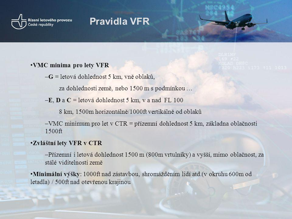 Pravidla VFR VMC minima pro lety VFR
