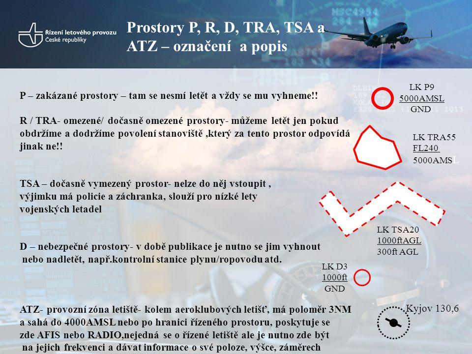 Prostory P, R, D, TRA, TSA a ATZ – označení a popis