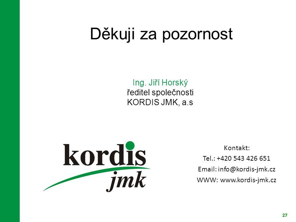 Děkuji za pozornost Ing. Jiří Horský ředitel společnosti