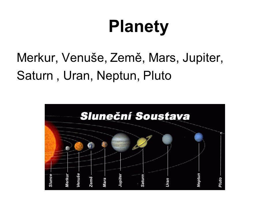 Planety Merkur, Venuše, Země, Mars, Jupiter,