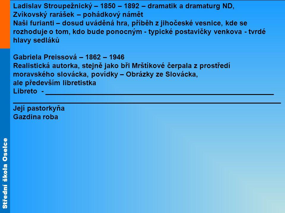 Ladislav Stroupežnický – 1850 – 1892 – dramatik a dramaturg ND,