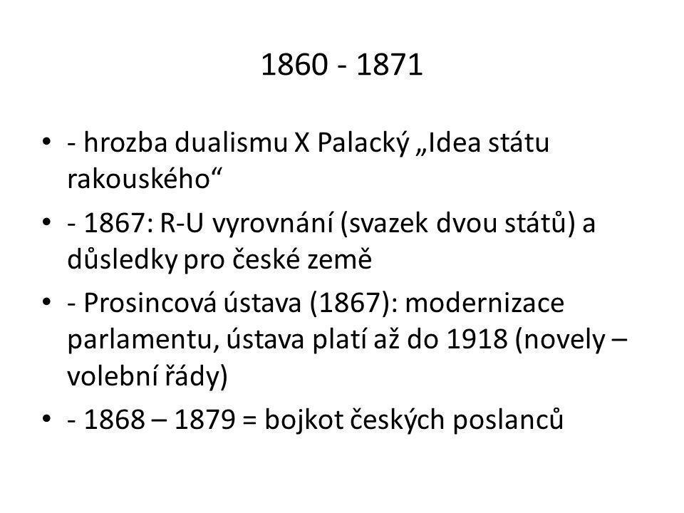"""1860 - 1871 - hrozba dualismu X Palacký """"Idea státu rakouského"""