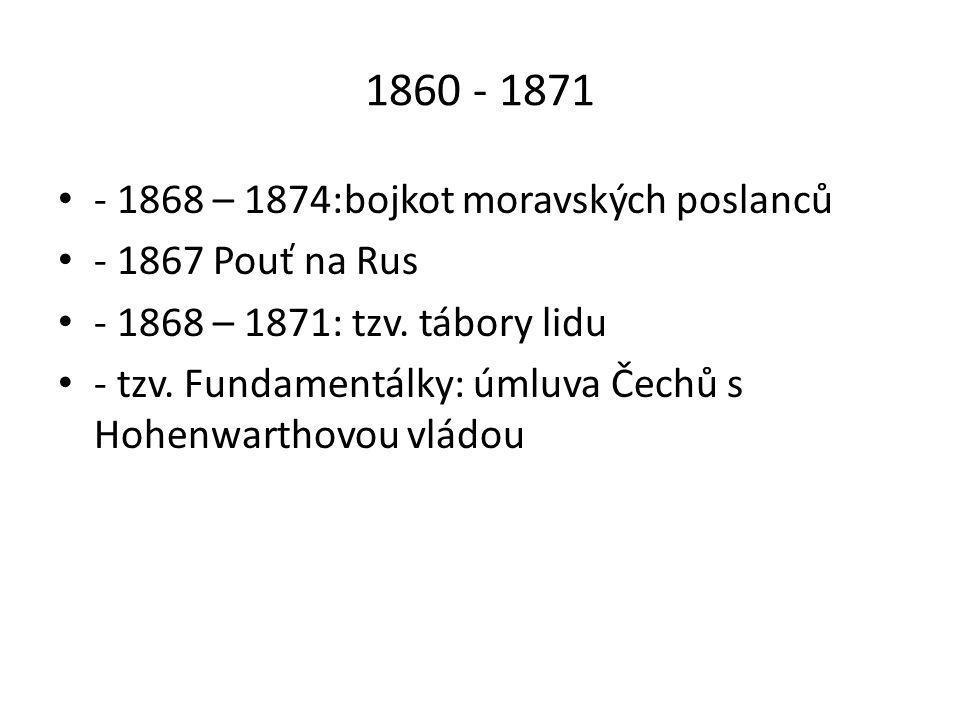 1860 - 1871 - 1868 – 1874:bojkot moravských poslanců
