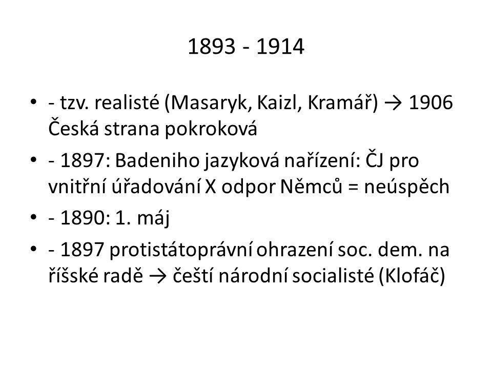 1893 - 1914 - tzv. realisté (Masaryk, Kaizl, Kramář) → 1906 Česká strana pokroková.