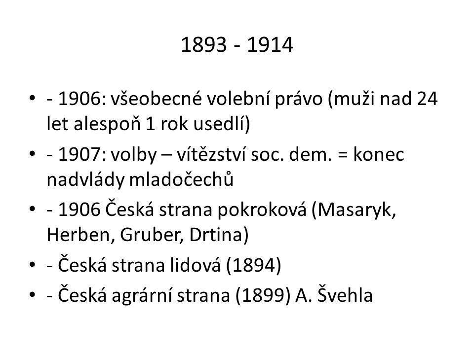 1893 - 1914 - 1906: všeobecné volební právo (muži nad 24 let alespoň 1 rok usedlí) - 1907: volby – vítězství soc. dem. = konec nadvlády mladočechů.