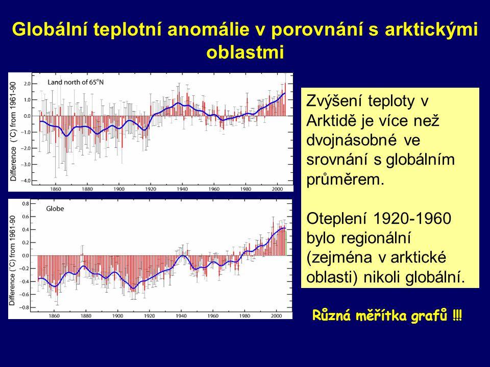 Globální teplotní anomálie v porovnání s arktickými oblastmi