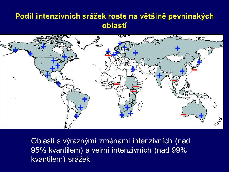 Podíl intenzivních srážek roste na většině pevninských oblastí