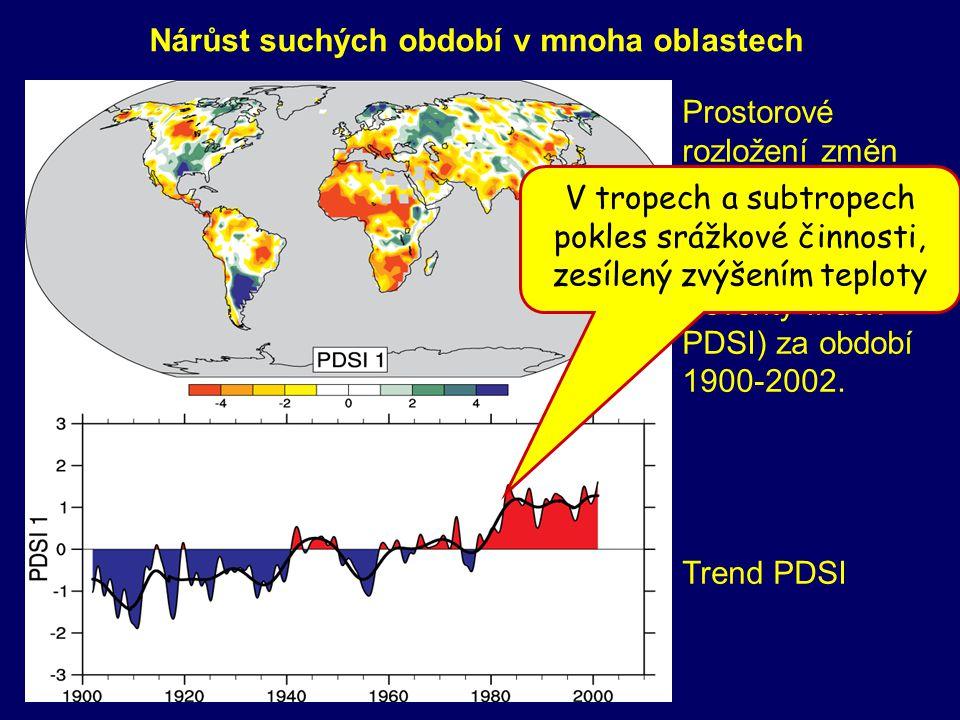 Nárůst suchých období v mnoha oblastech