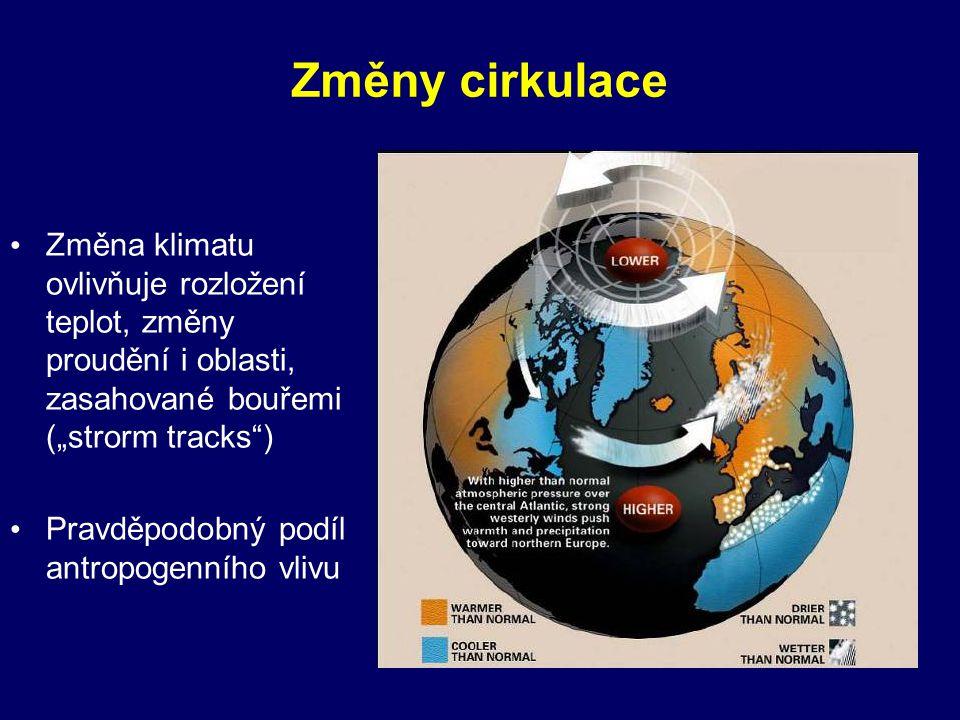 """Změny cirkulace Změna klimatu ovlivňuje rozložení teplot, změny proudění i oblasti, zasahované bouřemi (""""strorm tracks )"""